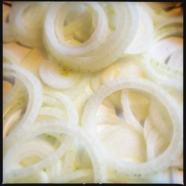 Slice onions in same manner, seperate rings