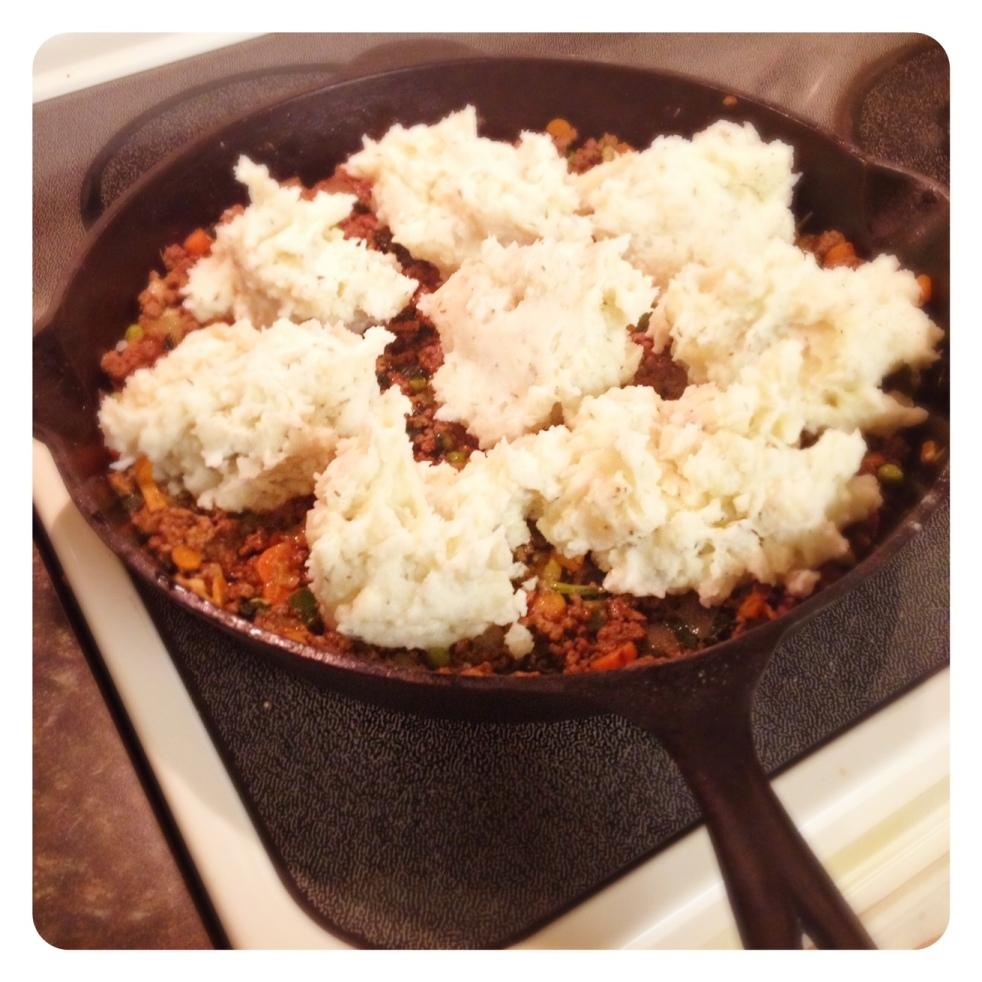 Add smashed and mashed potoates