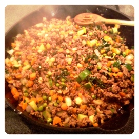 Combine and cook veggies until tender